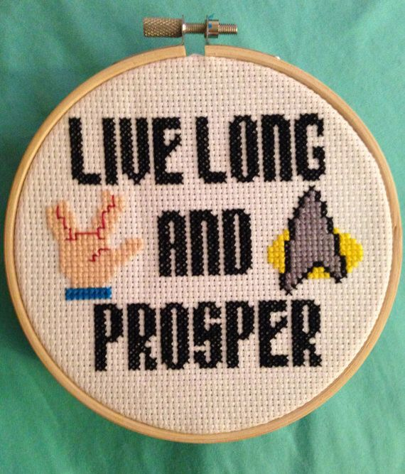 Counted Cross Stitch Pattern Star Trek Live Long /& Prosper Free US Shipping