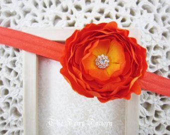 Orange Flower Headband Rich Orange Flower by TheFairyFactoryShop