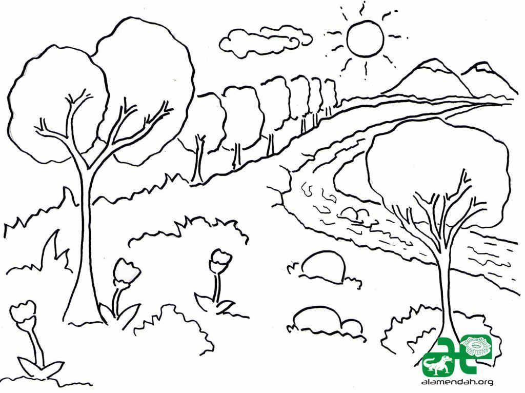 Mari Mewarna Gambar Pemandangan Sangat Cantik Diantara 15 Gambar In 2020 Coloring Pages Coloring Pictures For Kids Kids Coloring Books