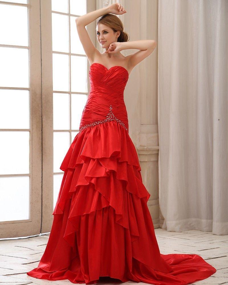 Sweetheart Ruffle Sequins Neckline Lace Up Back Taffeta Evening Dress