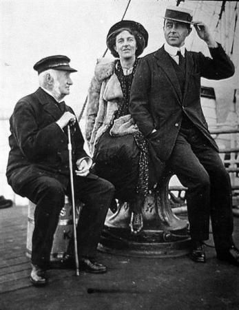Kathleen and Robert Falcon Scott aboard  Terra Nova, with Clements Markham, of the Royal Geographical Society.