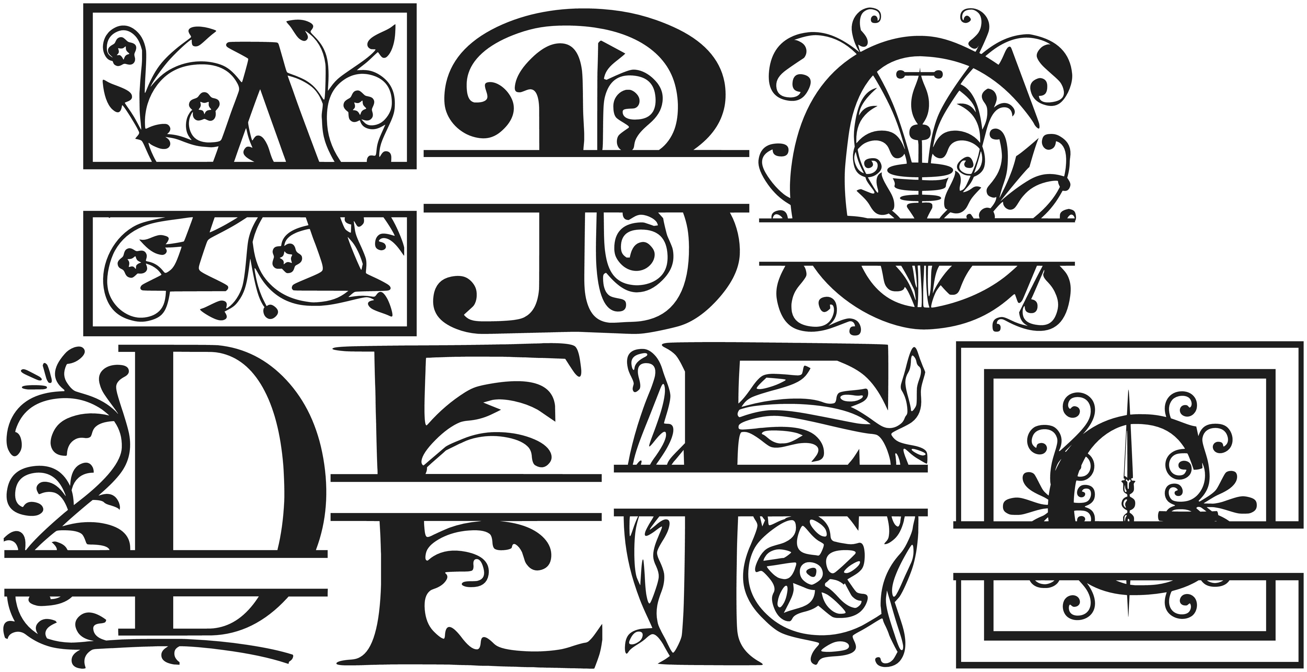 Download Split Letter Monogram Fonts Free   Cricut monogram font ...