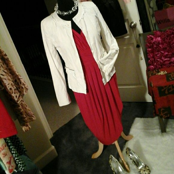 T Tahari jacket in winter white Gorgeous jacket with character!  Hook closure,  zippered front pockets.  A perfect fit with our red dress, it just pops! T Tahari  Jackets & Coats