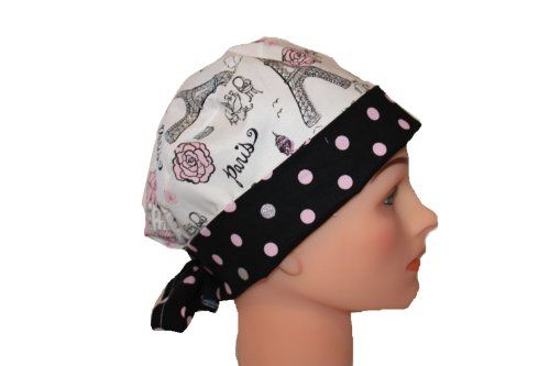 Surgical Scrub Hat Cap Paris Pink Black Silver Glitter Dots Pixie