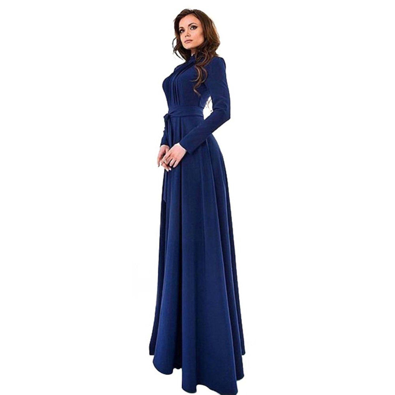 Mercu women long sleeve full length dress cocktail evening party