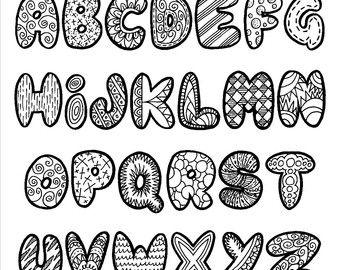 Doodle Alphabet Etsy DE