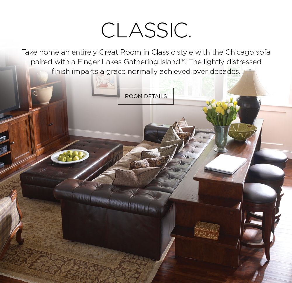 Stickley Furniture Gathering Island With Chicago Sofa