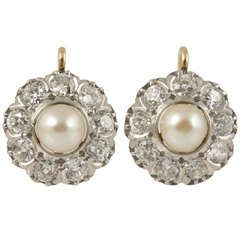 Natural Pearl and Diamond Cluster Earrings