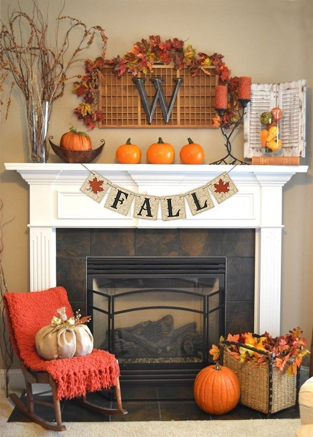 fall decor banner measures 5 long the perfect size for a fireplace mantle or - Decor For Mantels