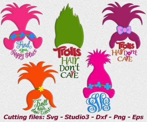 Troll svg, Trolls svg, Troll hair Don't Care, Trolls monogram svg png dxf eps, cutting iron on transfer, trolls clip art,vinyl tshirt design
