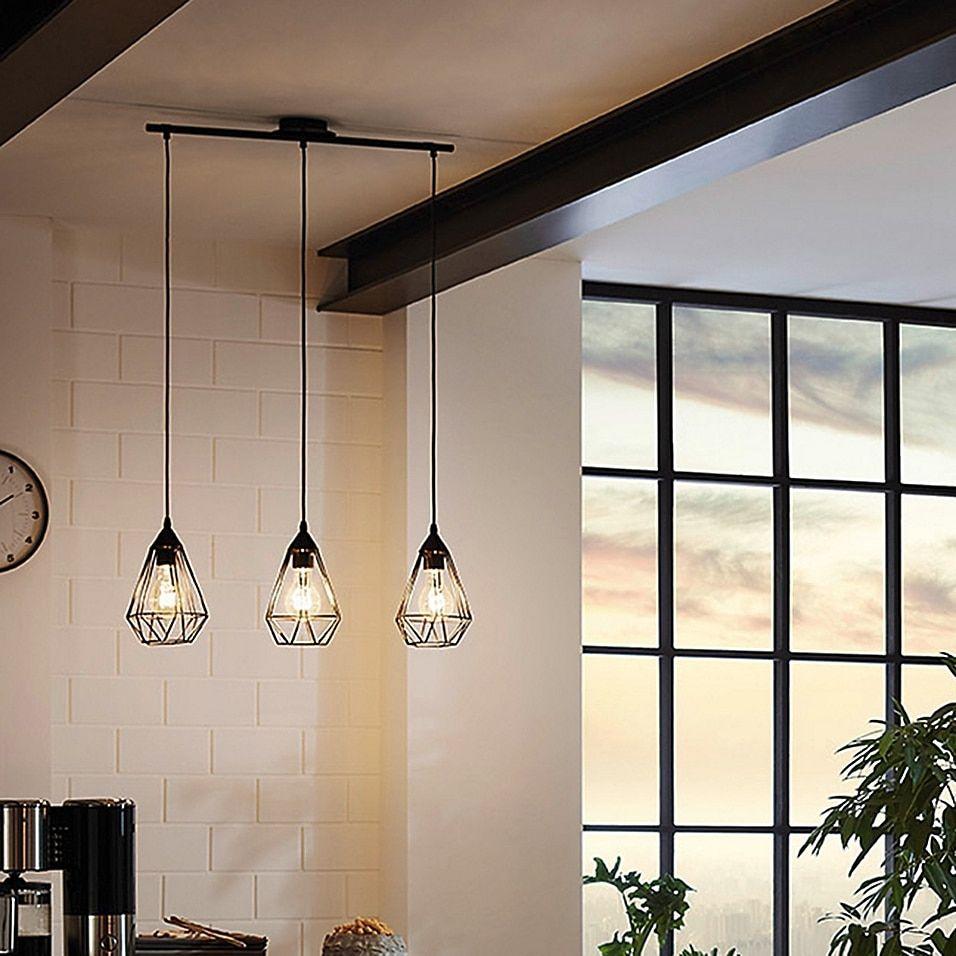 Eglo Usa Tarbes 3 Light Island Pendant In Matte Black Bed Bath Beyond In 2021 Black Hanging Lighting Kitchen Lighting Fixtures Geometric Pendant Light