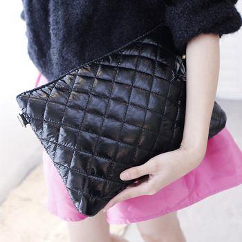 autumn and winter black plaid bag space cotton messenger bag women's day clutch carteiras femininas em couro carteira de marcas