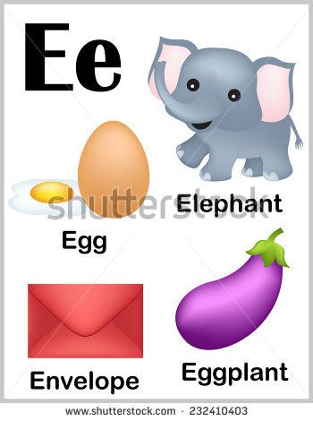 Cute and colorful alphabet letter E with set of illustrations and