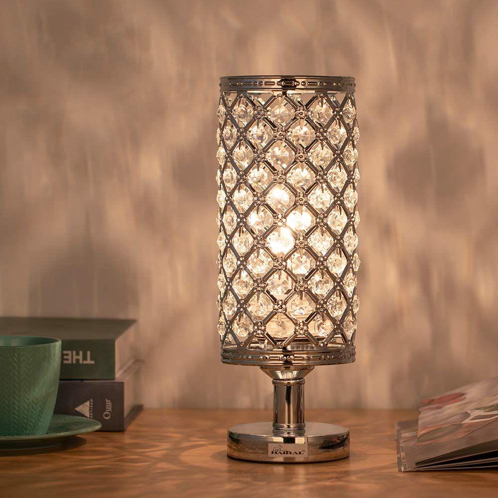 Casavida Modern Crystal Bedside Table Lamps For Bedroom Living Room Office Elegant Decorative Aesthetic Room Crystal Table Lamps Chandelier Floor Lamp Lamp