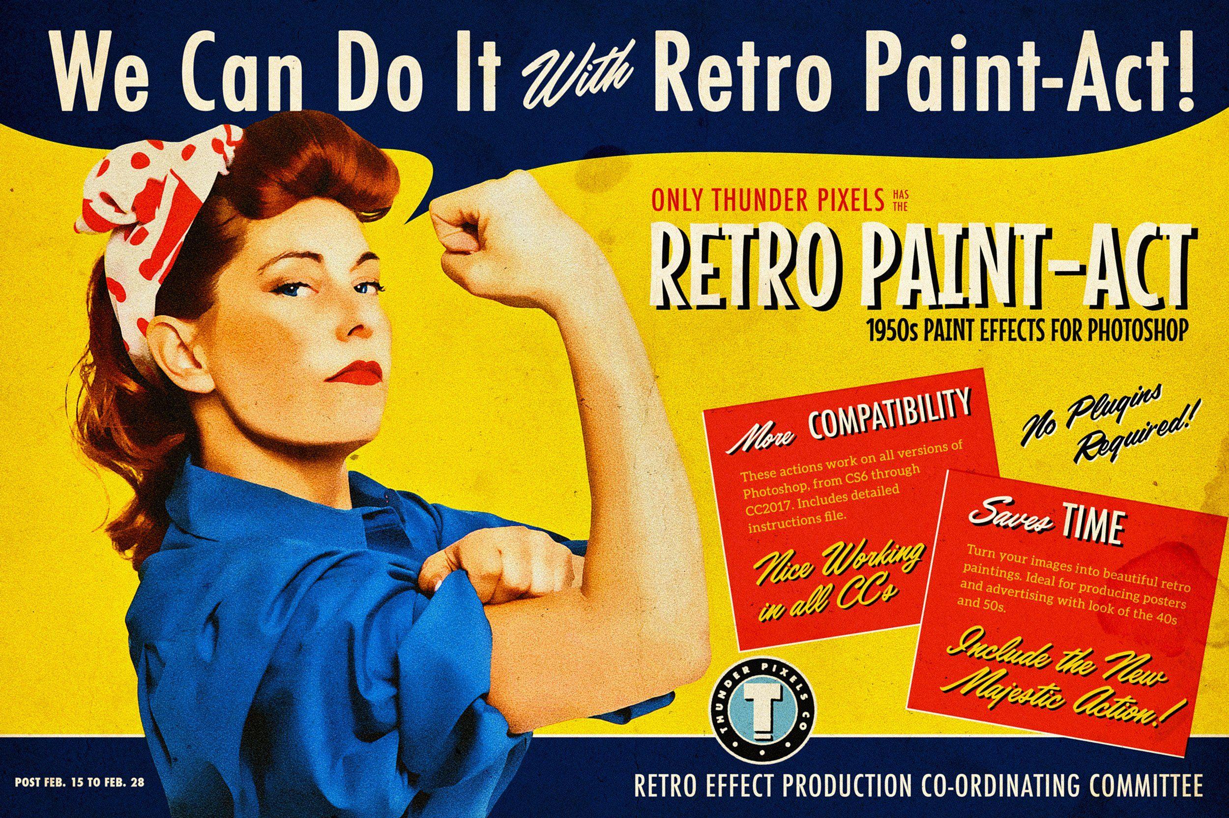 Retro Paint Act Ps Action Kit Photoshop Photoshop Actions Retro
