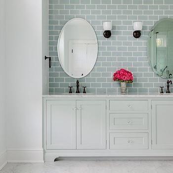Beau Pale Gray Dual Washstand With Ann Sacks Capriccio Field Tile Sky Blue  ($14 20 · Bathrooms DecorSubway ...