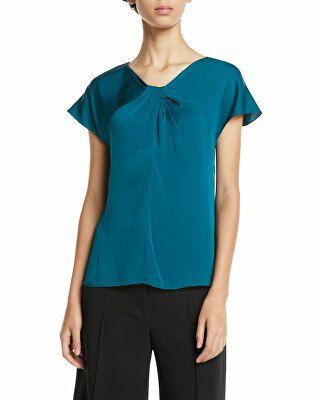 d53957b14011e Milly Designer Tatiana Twist-Neck Cap-Sleeve Stretch-Silk Top ...