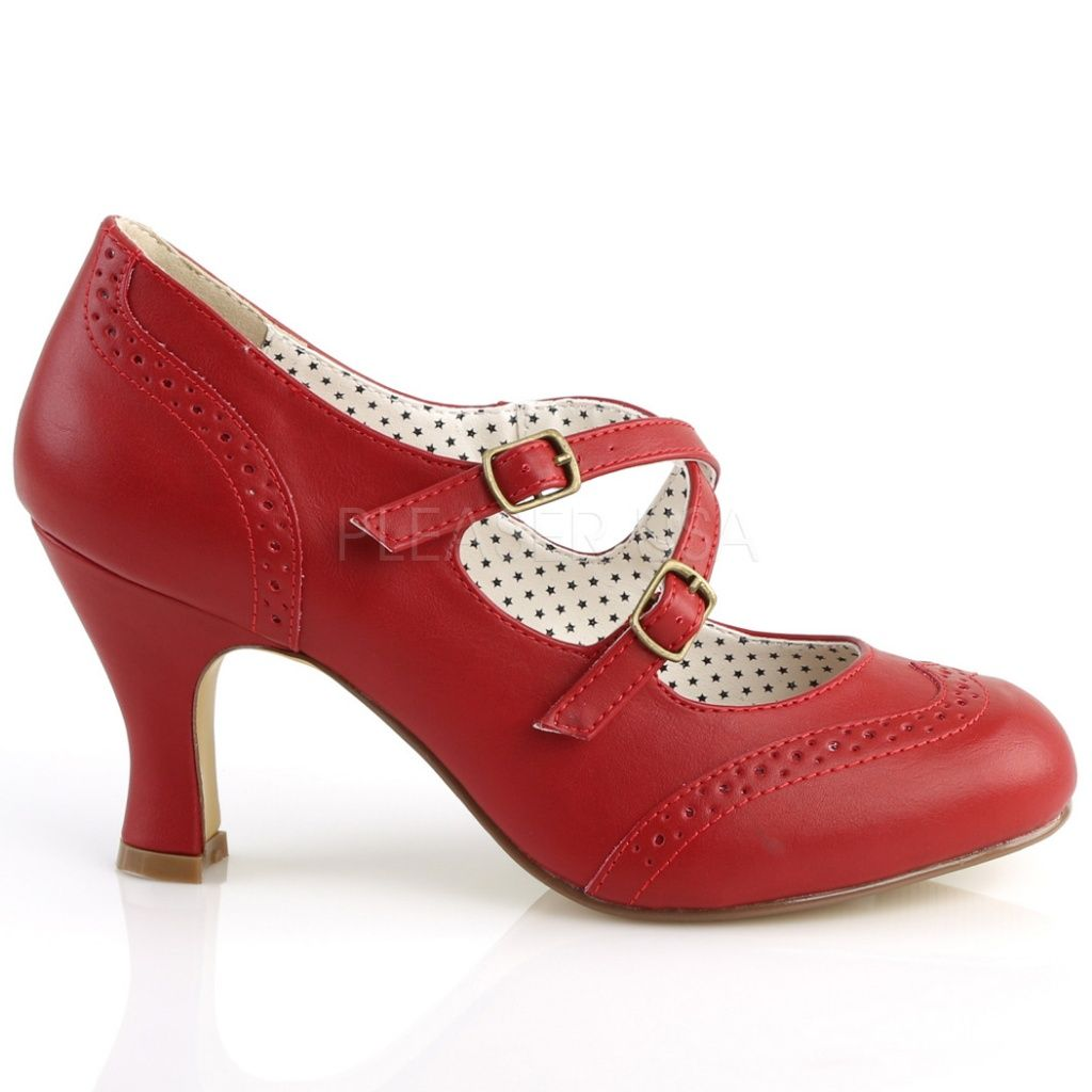 Pleaser Shoes | Flapper-35 Red Cross Strap Vintage