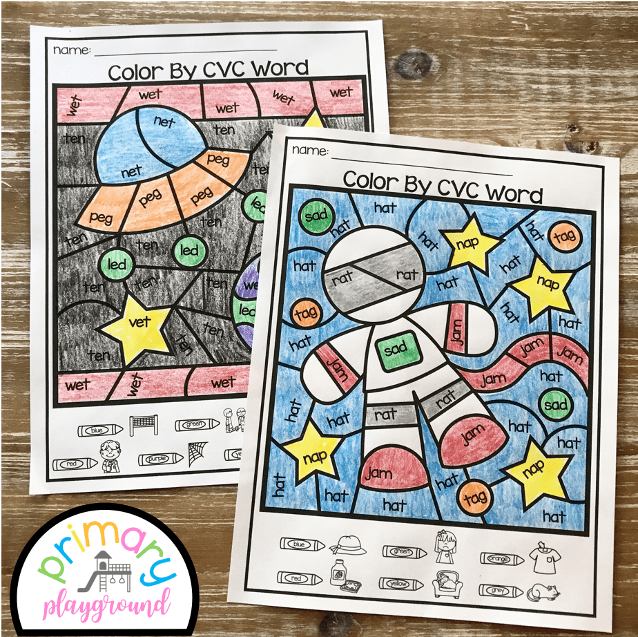 Free Printable Color By Code Cvc Words Primary Playground Cvc Words Preschool Sight Words Phonics Games Kindergarten [ 922 x 924 Pixel ]