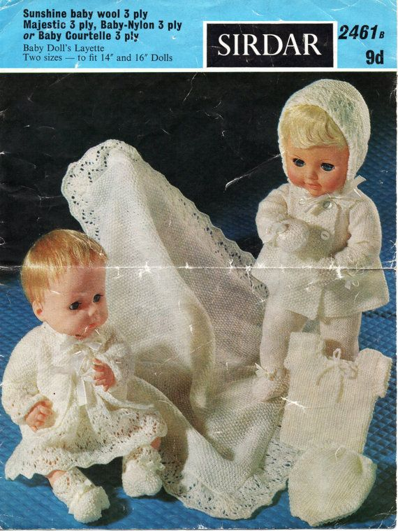 c507de210f4d Baby Dolls Clothes Knitting Pattern Baby Dolls Layette Dolls Pram ...