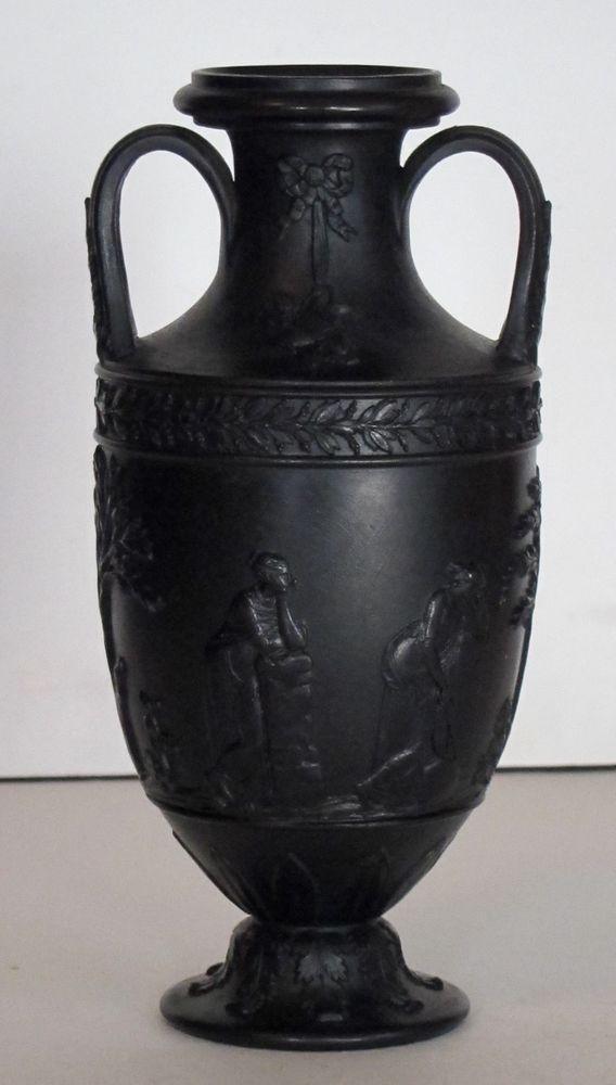 Antique 1840 1880 Black Basalt Wedgwood Urn Vase 6 Inches Tall
