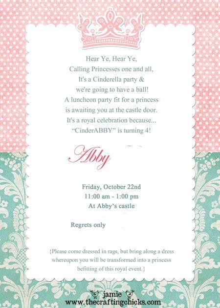Princess Tea Party Invitation Wording | Cinderella Party A Party Fit For A Princess Princess Party
