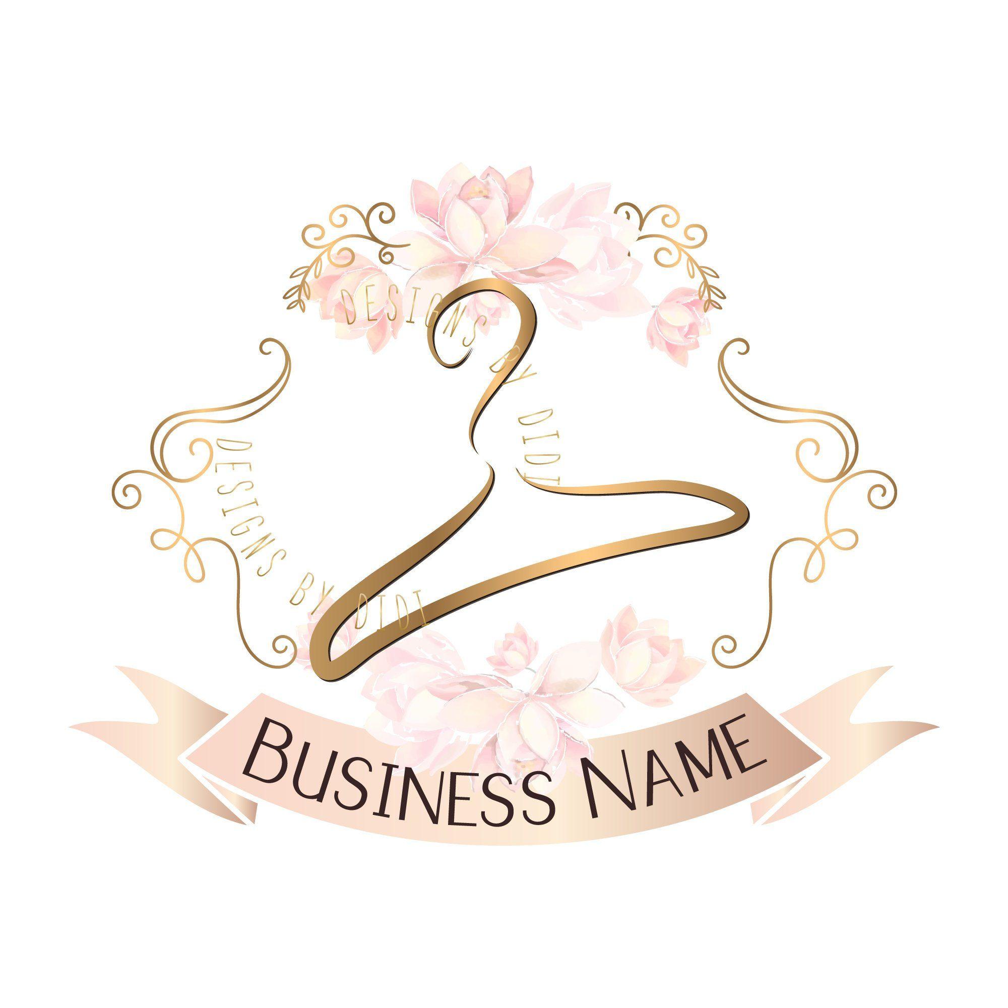 Custom logo design, hanger logo, cute pink logo hanger