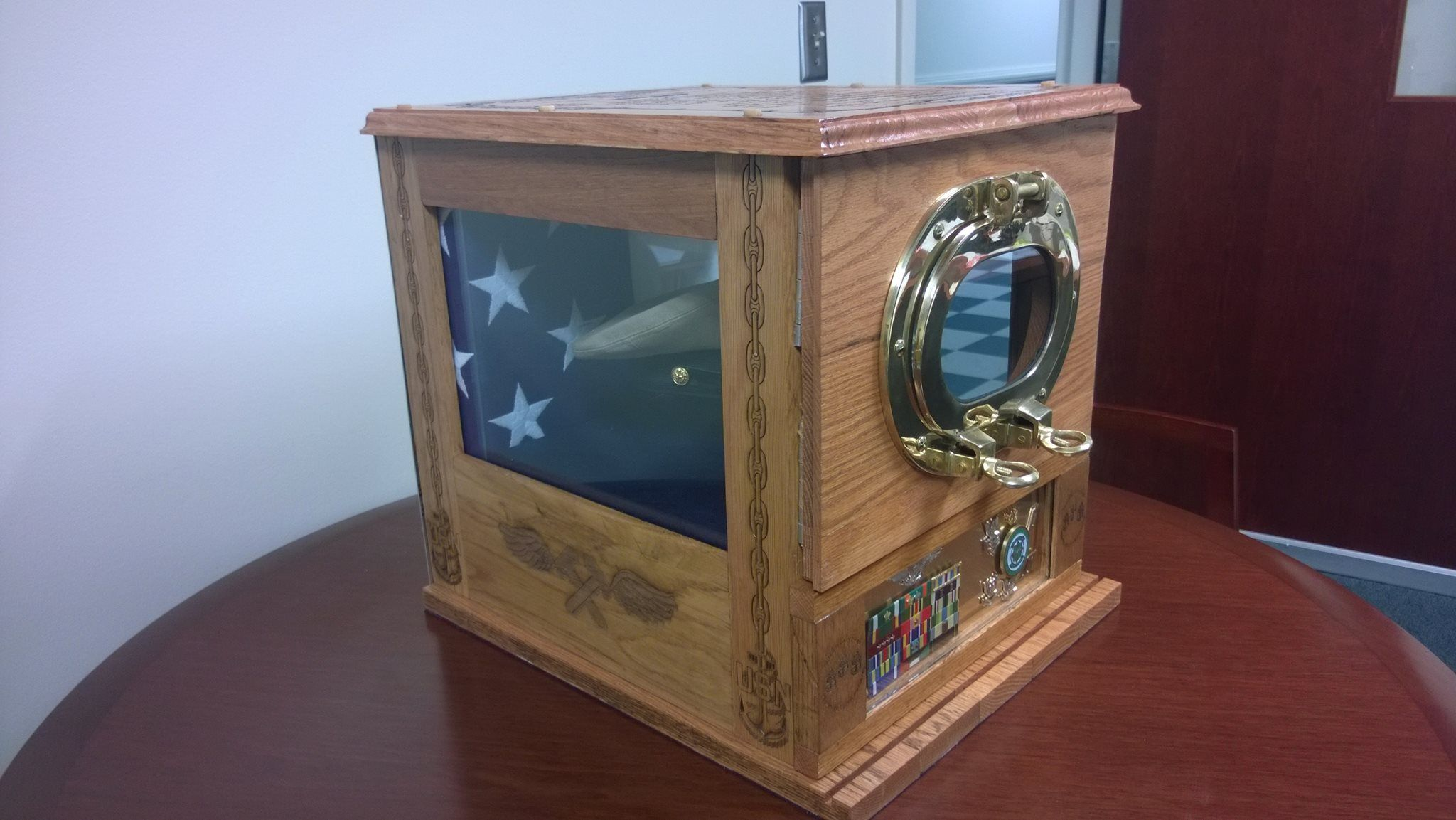Usn Chief Shadow Hat Box Side View Military Hat Box Military Shadow Box Hat Display
