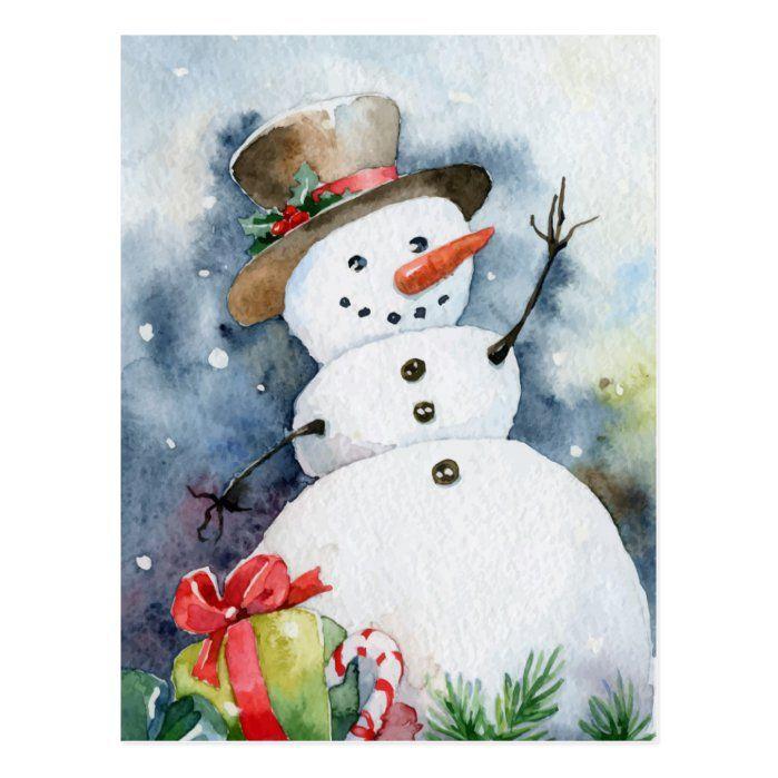 Watercolor Snowman Postcard