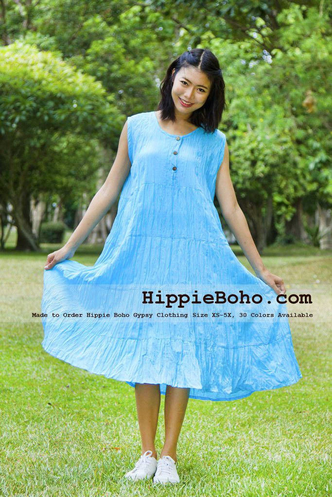 f225628992a Plus Size Aqua Blue Cotton Knee Length Dress Bohemian Summer Clothing  Tiered Women s Mini Dress Hippie Boho Gypsy Style