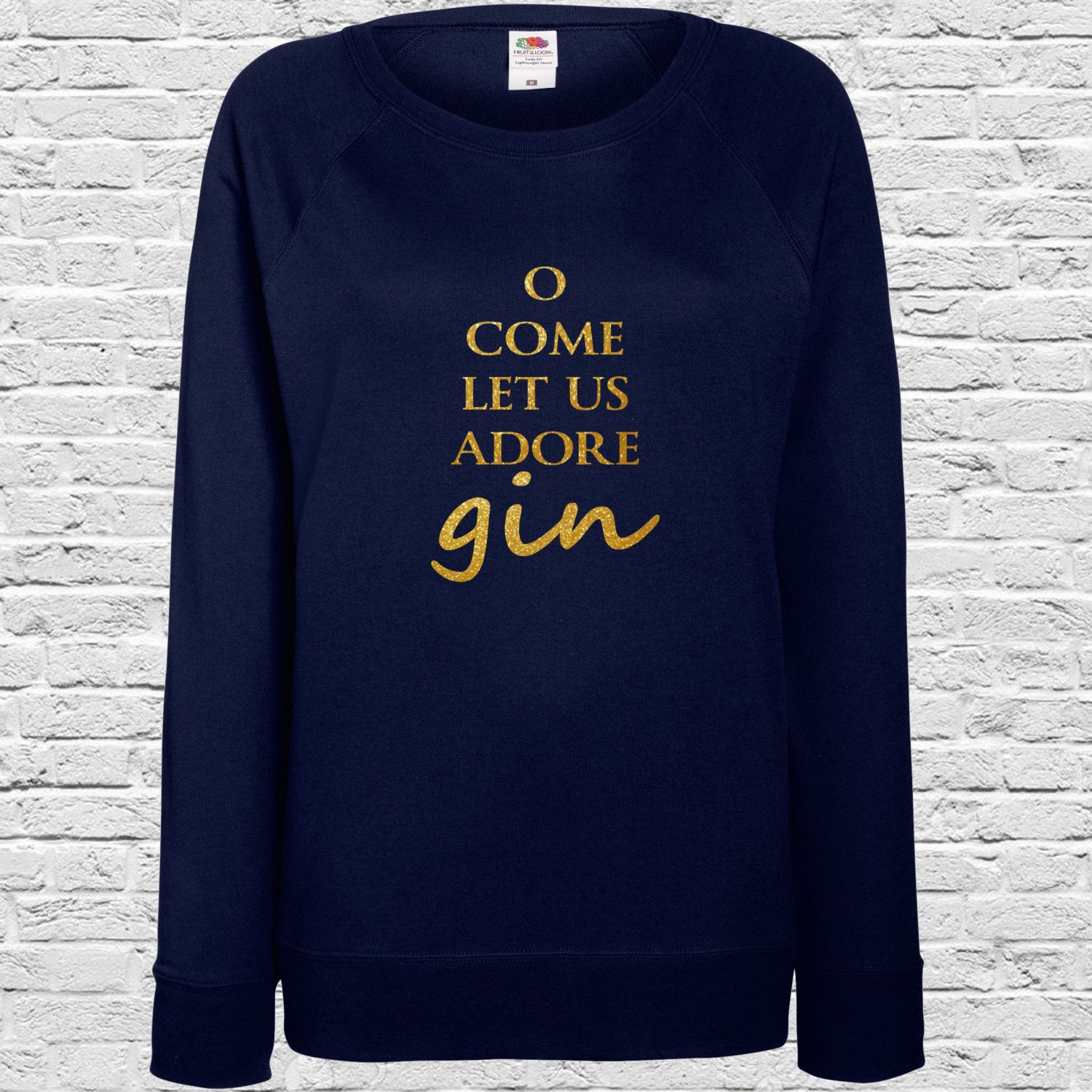 68976bab31e6f ON SALE Christmas Ladies Jumpers O Come Let Us Adore Gin - Xmas Seasonal  Jumper -