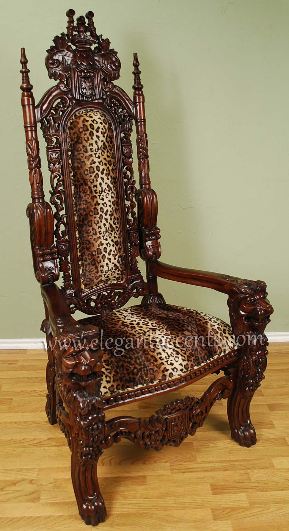 Lion Throne Chair 995 Brown Lacquer With Leopard Print