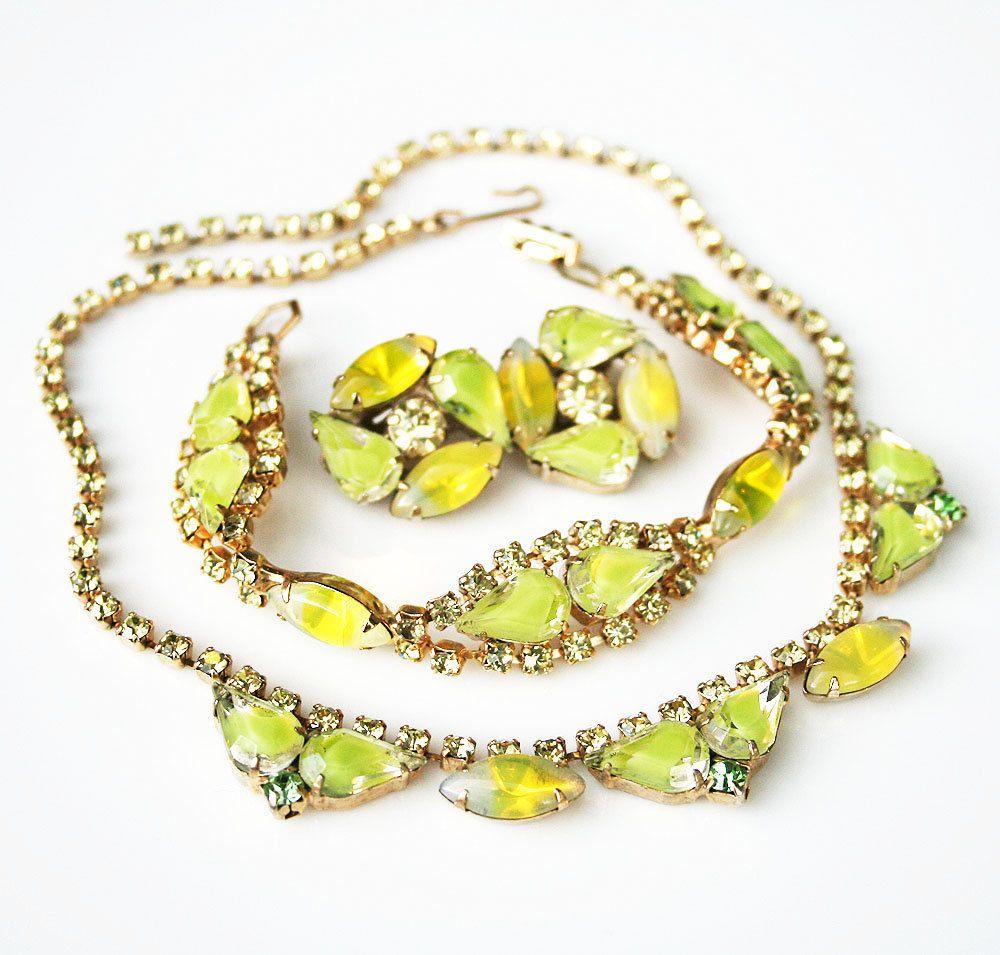 Vintage yellow givre rhinestone navette necklace bracelet earrings