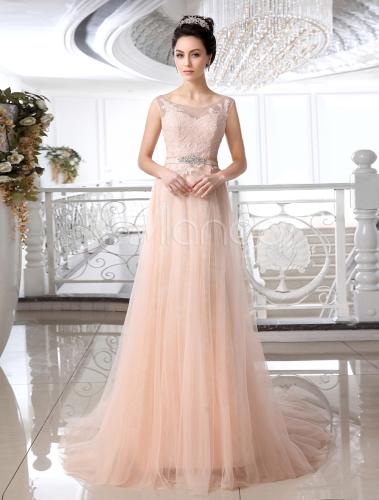 Attractive Jewel Neck Lace Court Train Brides Wedding Dress ...