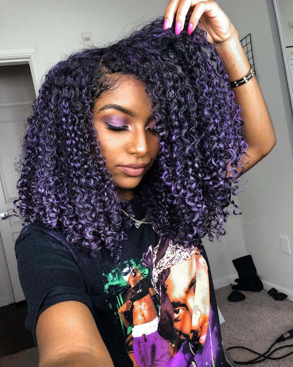 I Ve Always Wanted Purple Hair Inspired By The One And Only Justineskye Hairpaintwax H Natural Hair Styles Purple Hair Black Girl Purple Natural Hair