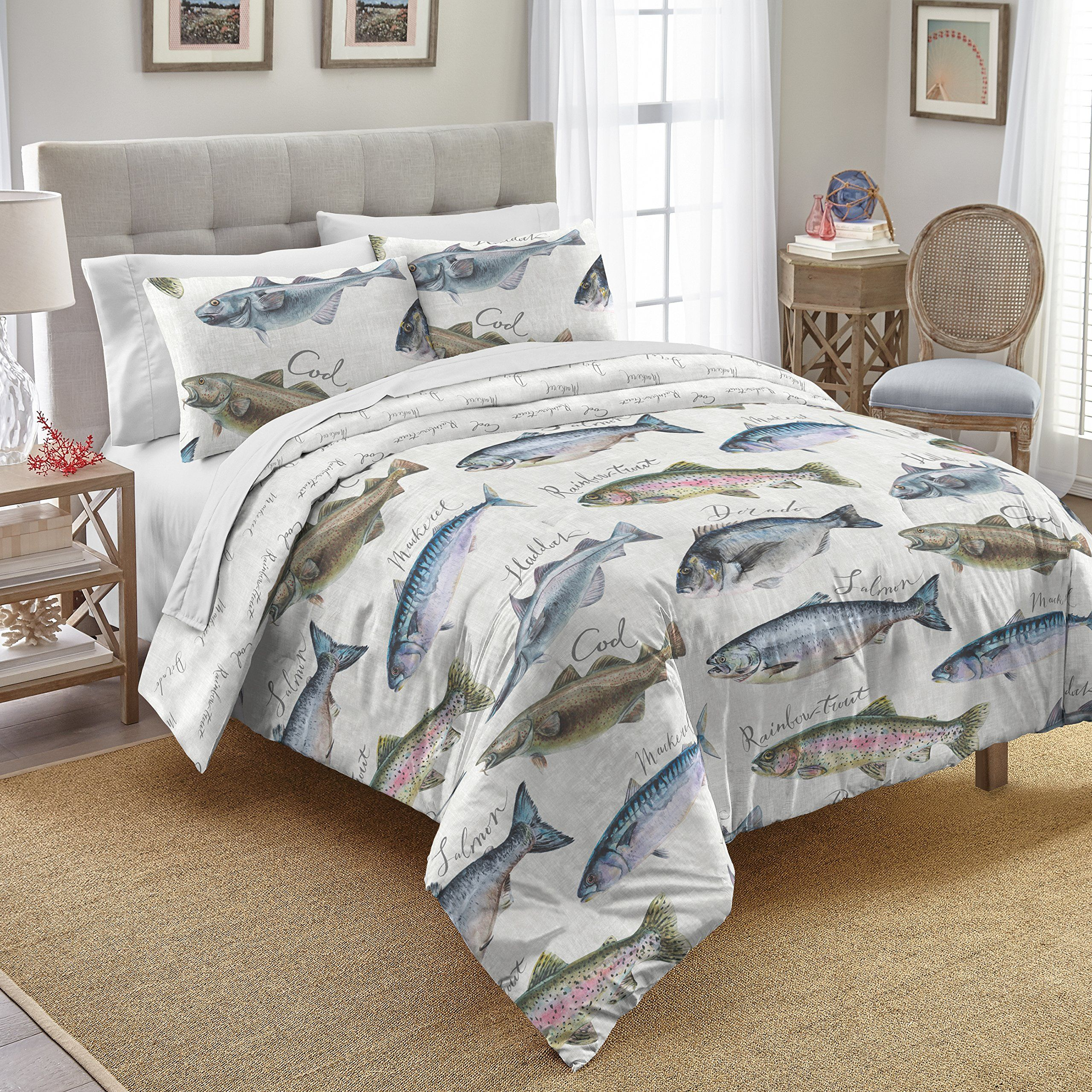 Destinations Gone Fishing Cotton Comforter Set Twin Full Queen Or King White Visit The Image Link More Det Comforter Sets Cotton Comforter Set Bedding Sets