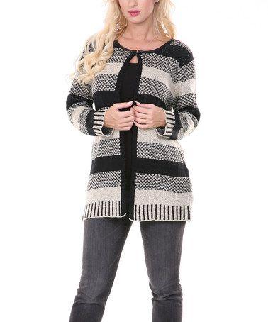 Black & Camel Stripe Cardigan by Ana K #zulily #zulilyfinds