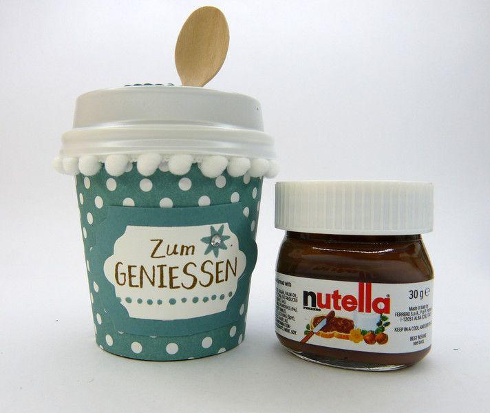 Schokolade & Süßigkeiten - Becher zum Geburtstag mit Mini-Nutella - ein Designerstück von Stempelitis bei DaWanda