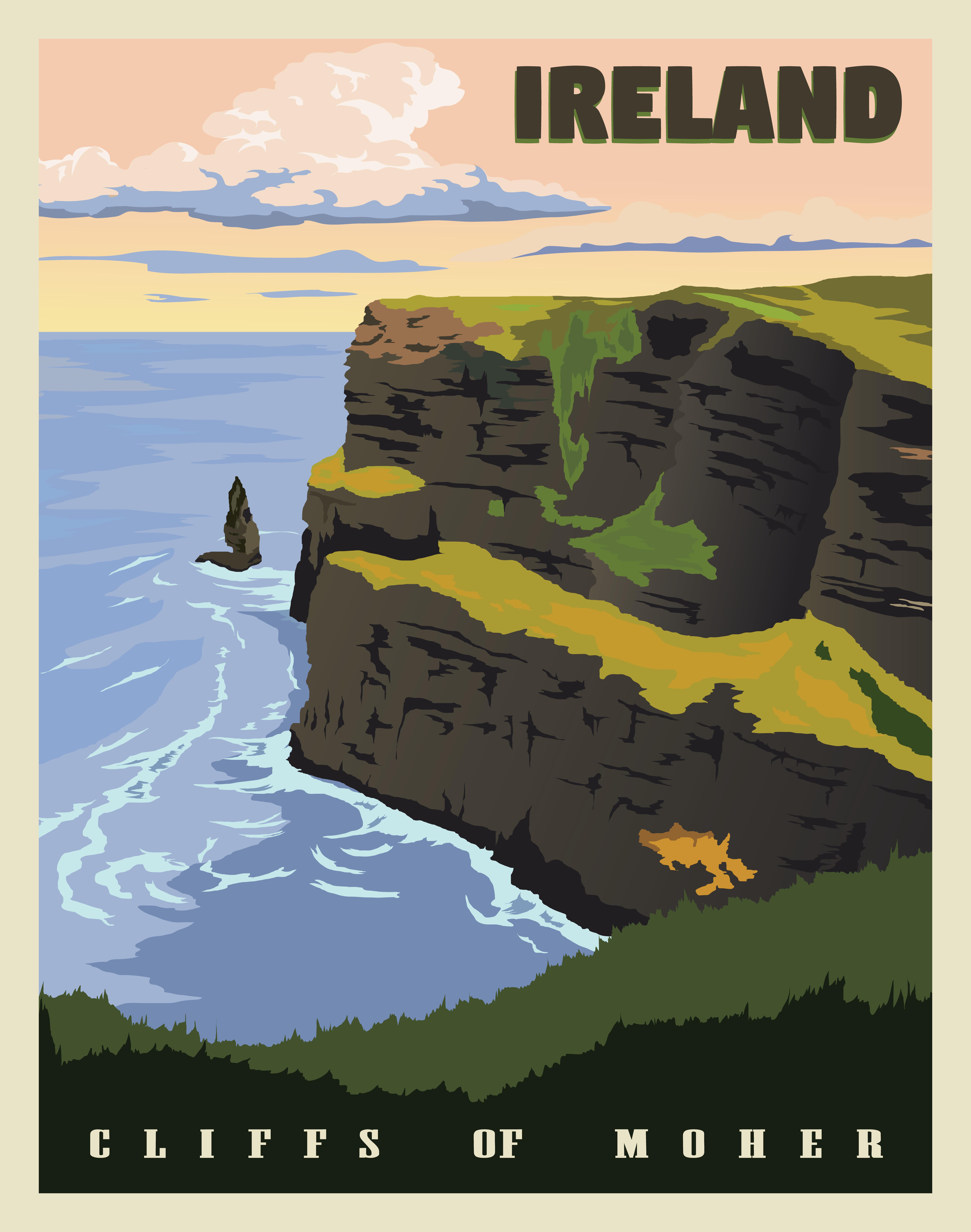 Ireland Vintage Style Travel Posters Travel Posters Art Deco Retro Travel Poster Vintage Poster Art