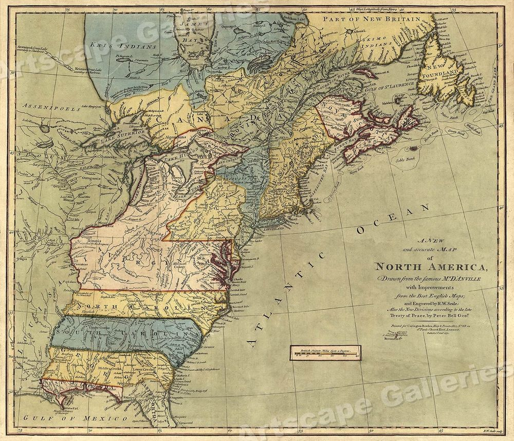 Map 9f America.North America 1771 Colonial Map 13 Colonies 20x24 Art Art