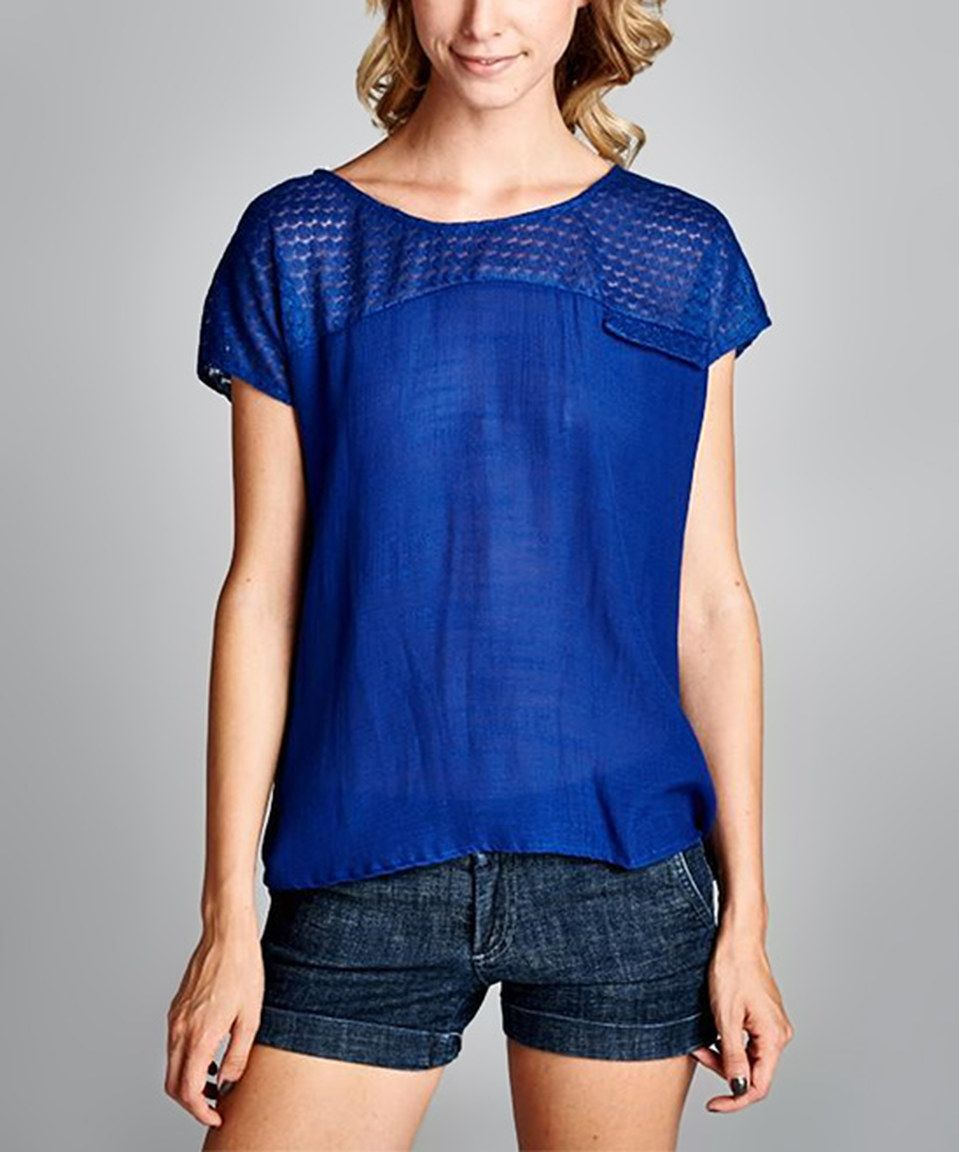 Loving this Love, Kuza Blue Sheer Cap-Sleeve Top on #zulily! #zulilyfinds