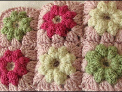 Very Easy Crochet Mini Puff Stitch Flower Baby Blanket Tutorial