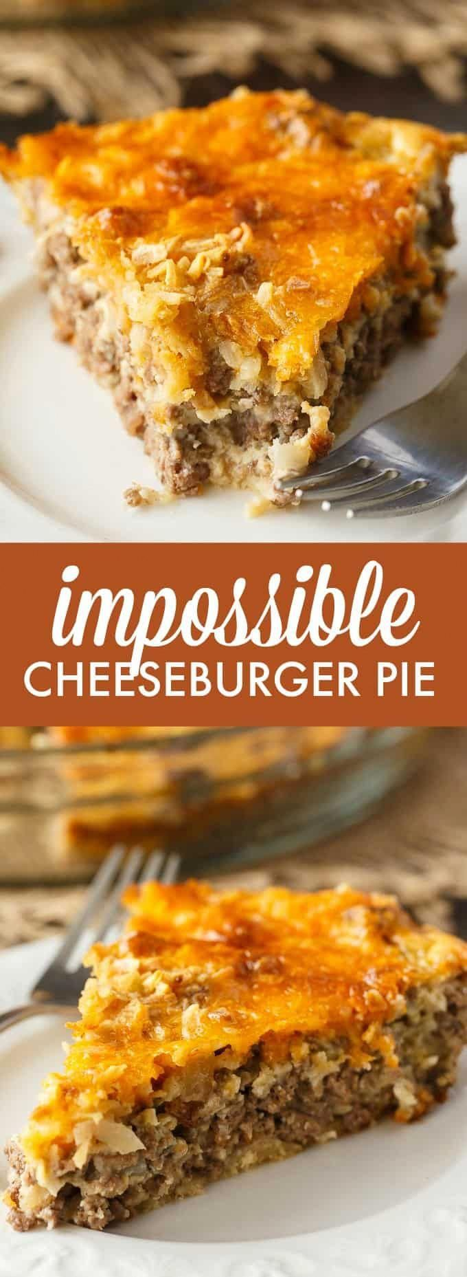Impossible Cheeseburger Pie - Super easy and delicious! This yummy recipe is full of cheesy beefy flavor that everyone loves. #casserolerecipes #impossiblecheeseburgerpie