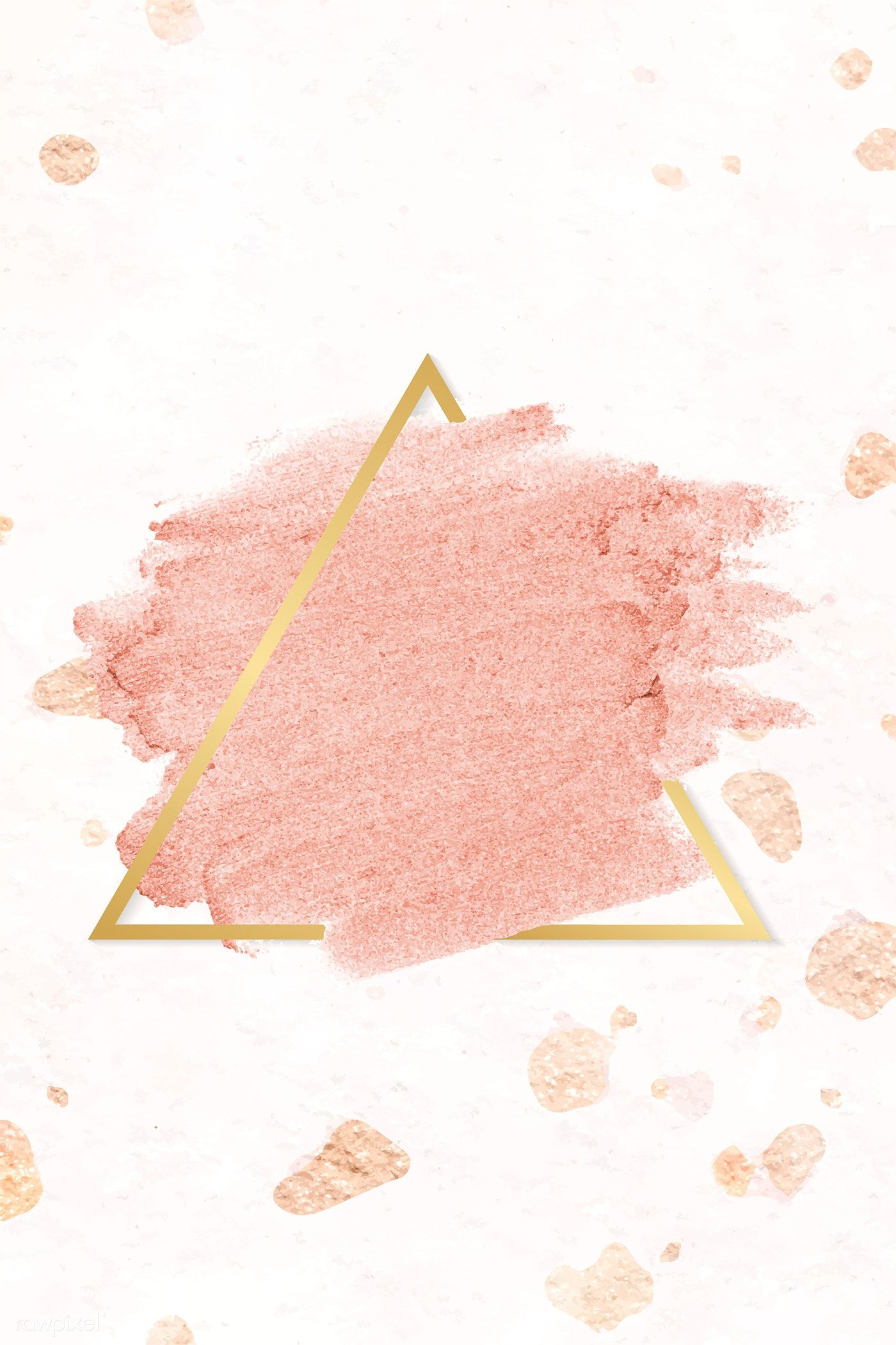 Pastel Pink Paint With A Gold Triangle Frame On A Light Pink Background Vector Free Pink Marble Background Pink And Gold Background Vector Background Pattern