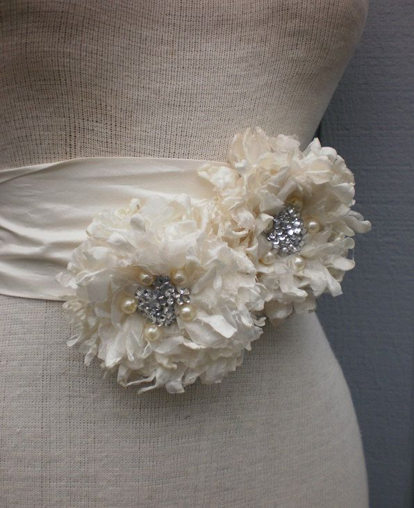 wedding  Bridal Sash With Two Unique Design Flowers.  via Etsy.