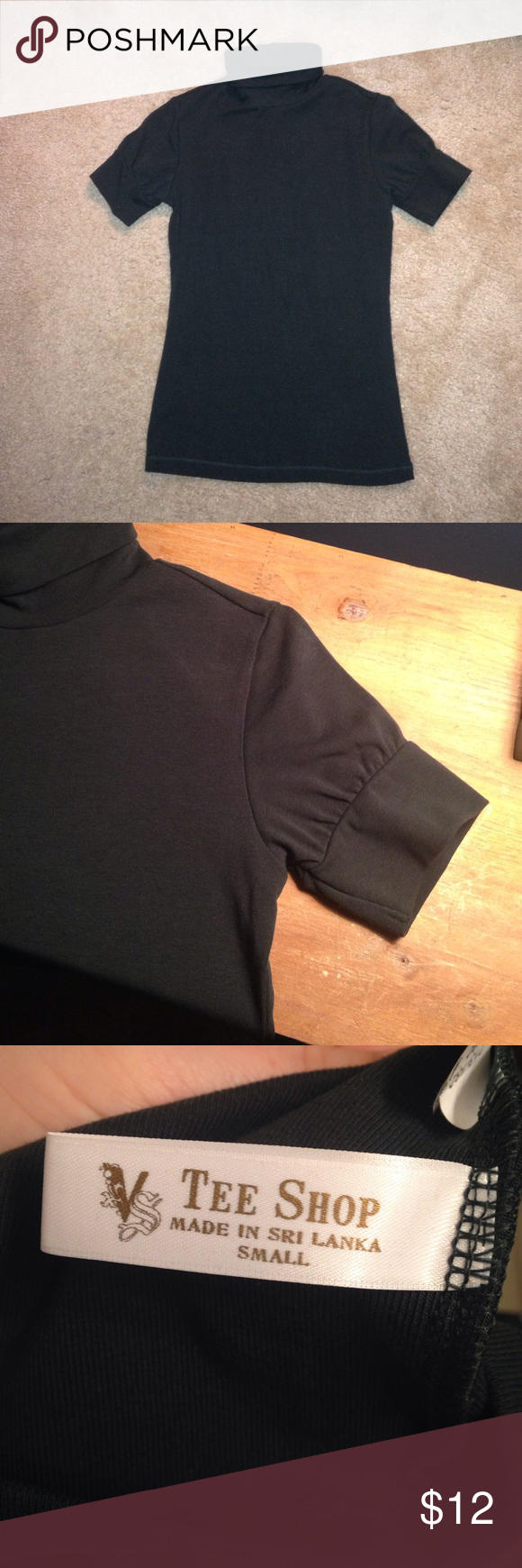 Tee Shop Short sleeve turtle neck purchased from Victoria's Secret. Never washed or worn. The true color is a dark, hunter green but for some reason it's looking black in the photos . No damages 👍🏼 Tops Tees - Short Sleeve