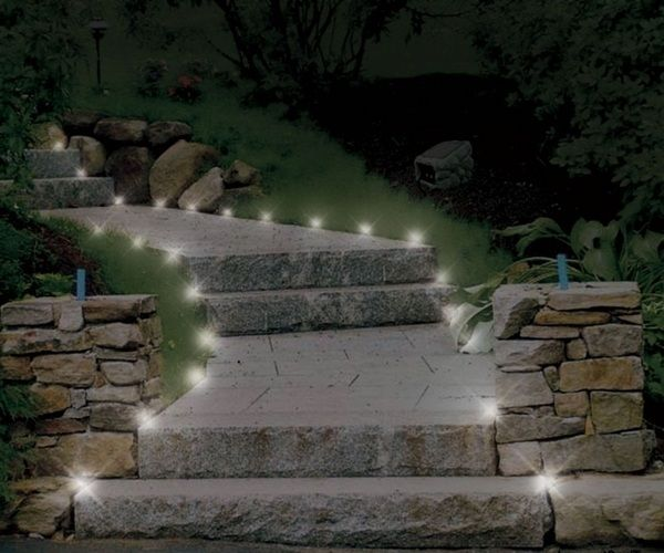 Stair Design Budget And Important Things To Consider: Stone Path Stairs Garden-LED-landscape-lighting