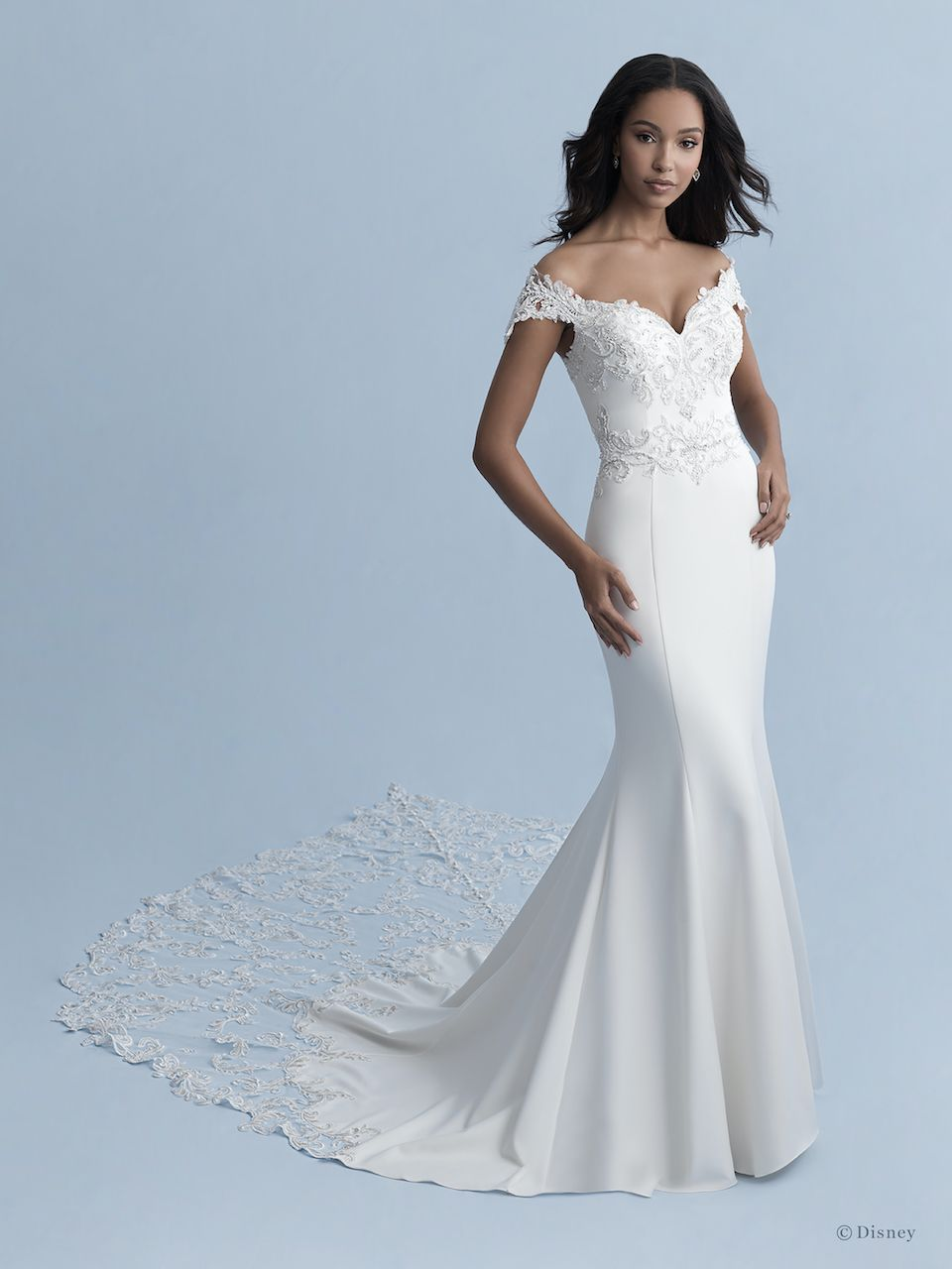 Off The Shoulder V Neckline Stretch Crepe Fit And Flare Wedding Dress With Lace Appliques Kleinfeld Bridal Disney Wedding Dresses Jasmine Wedding Dress Fitted Wedding Dress [ 1280 x 960 Pixel ]