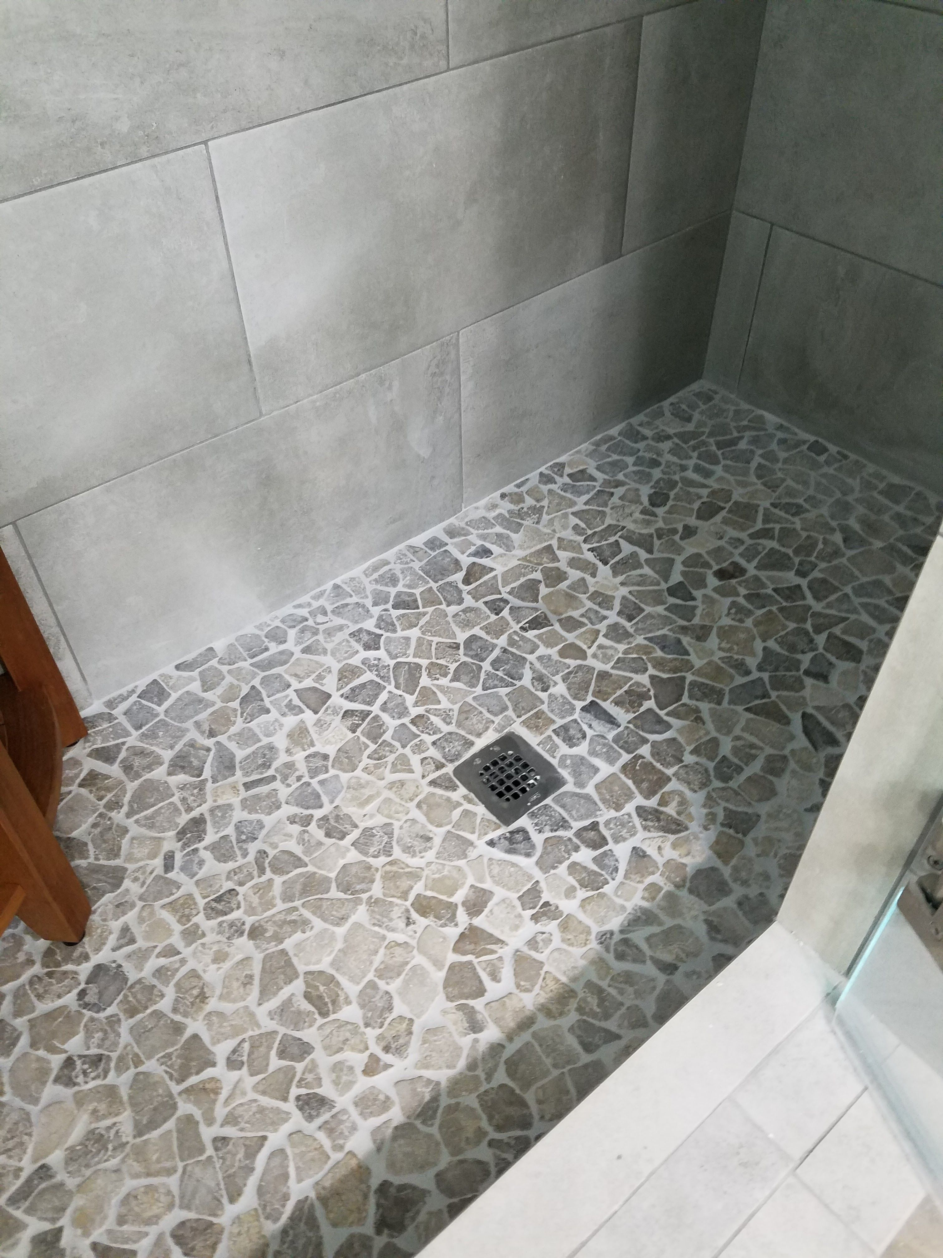 Stone Grey Mosaic Tile Bathroom Bathroom Tiles Bathroom Flooring