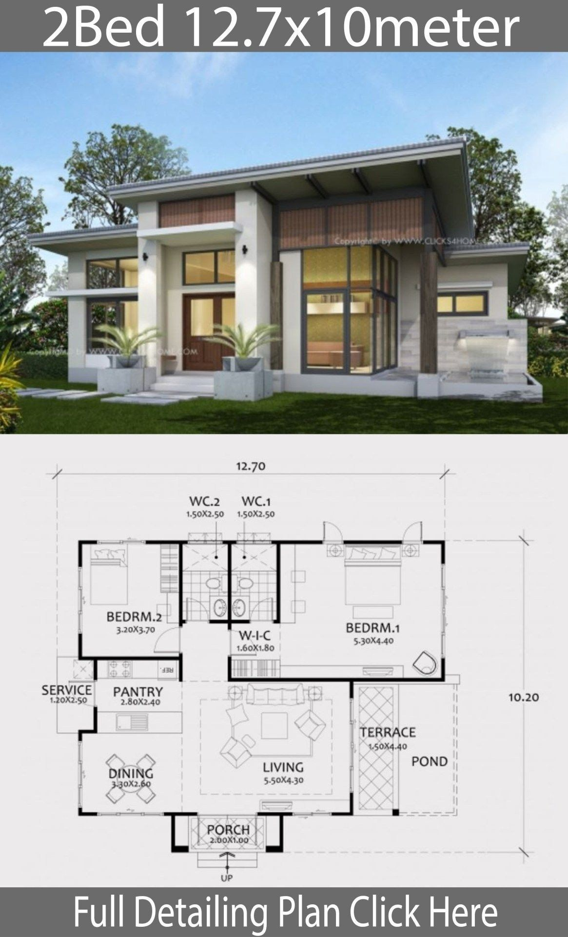 Modern House Plans Bungalow Home Design Plan 12 7x10m With 2 Bedrooms With Images Arsitektur Rumah Arsitektur Denah Desain Rumah